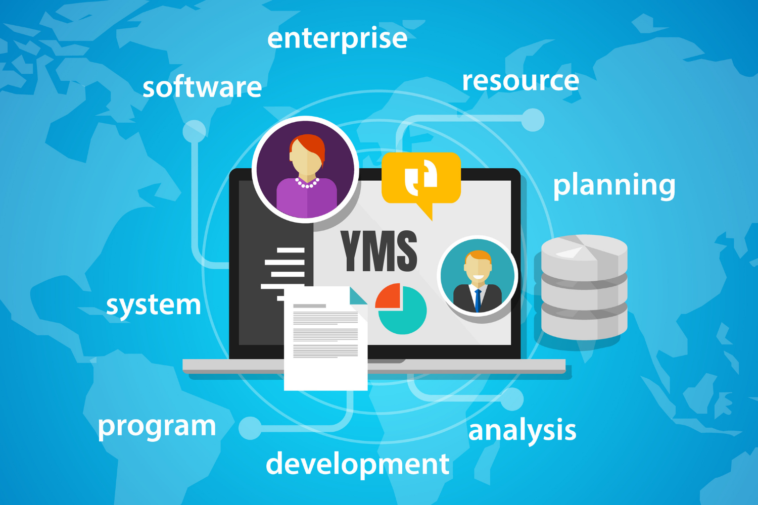Illustration of a computer with YMS for yard management integration on the screen with text surrounding it