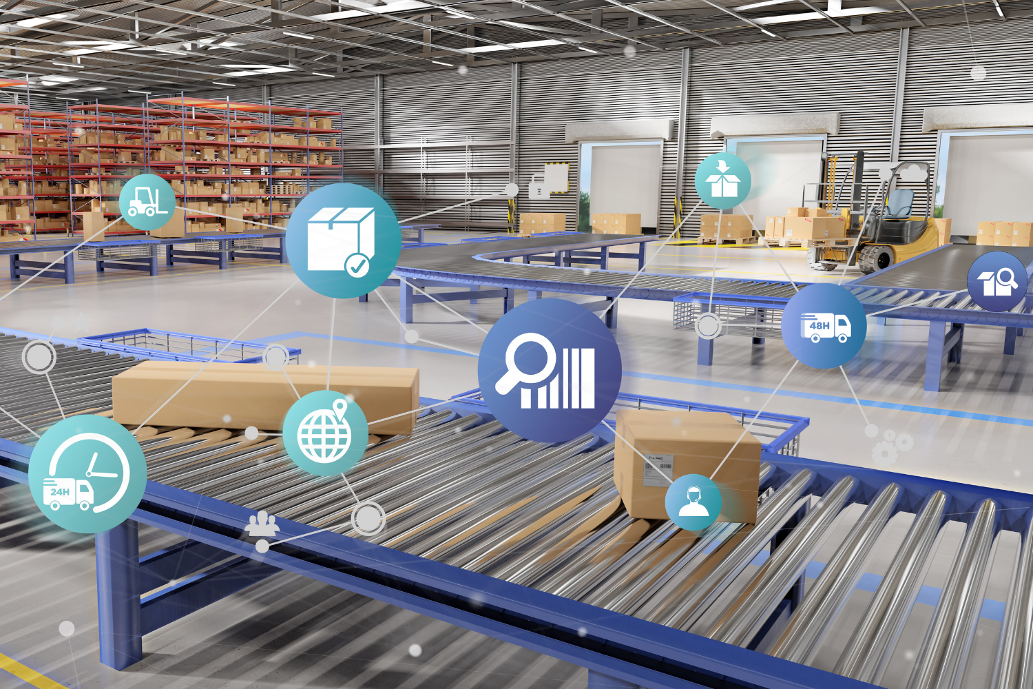 Photo of a warehouse logistics center operation with connected floating icons showing an integrated yard management system in place