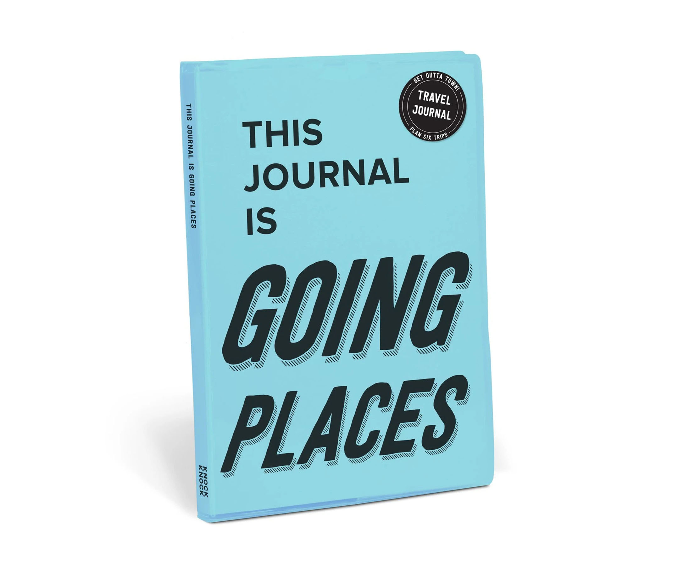 "A light blue journal titled,""This Journal is Going Places""."
