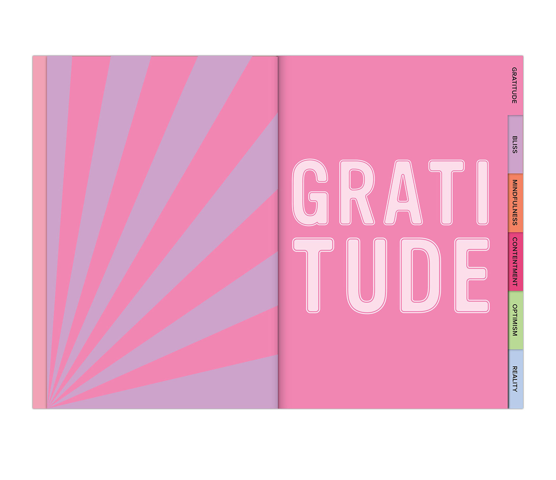 This Journal looks on the bright side spread view of a new section called gratitude.