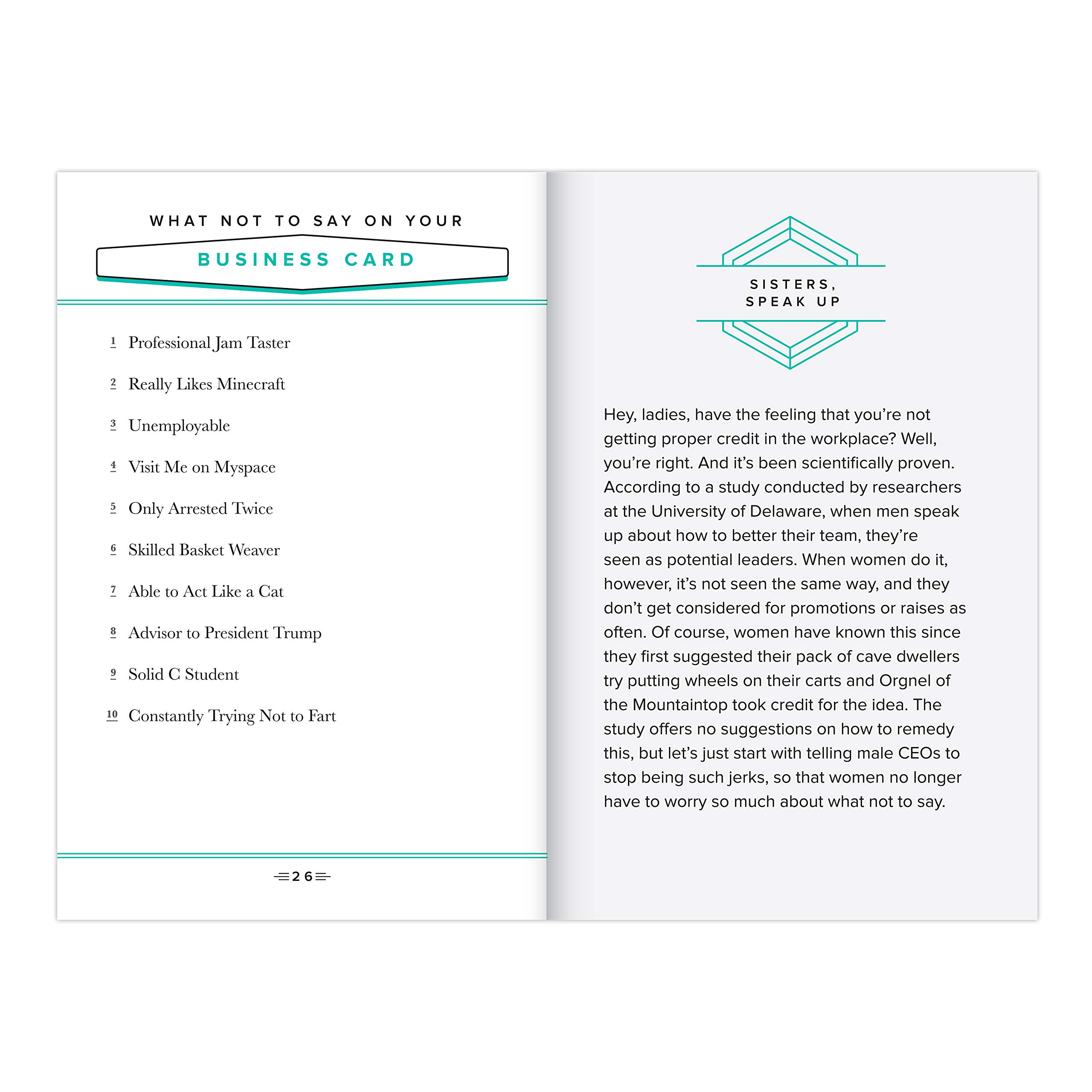 A spread view of the office book featuring text about what not to say on your business card and a highlight section.