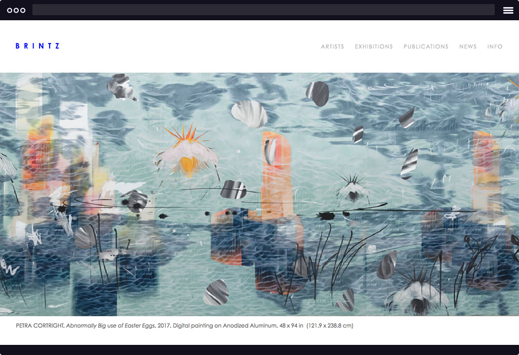This is a screenshot of Brintz's website homepage. The page features a banner image of a multicolored artwork with various hues of blues and complimentary colors that resemble the sea. The image is representative of their current exhibition.