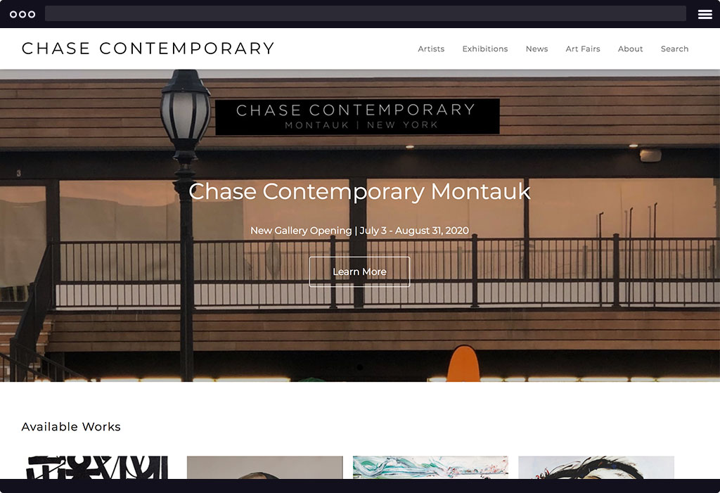 This is a screenshot of Chase Contemporary's website homepage. The page features a banner image of a stoney pathway with text overlaid on the image. The image is representative of their current exhibition.