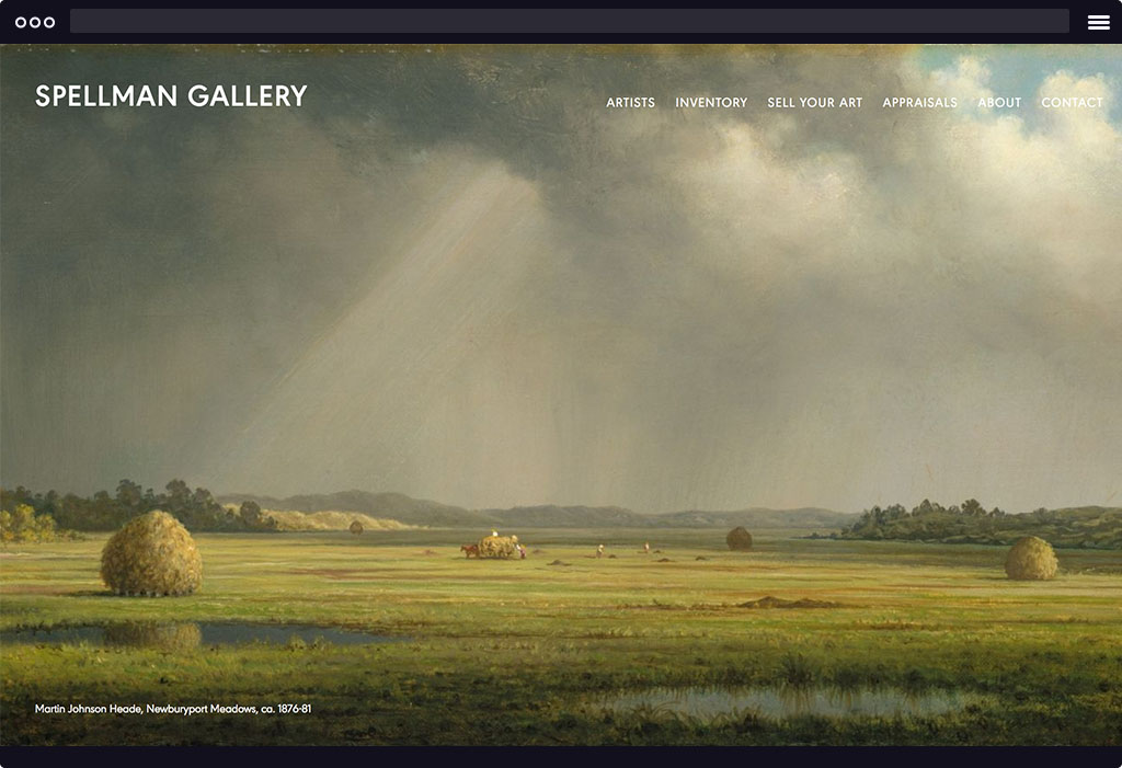 This is a screenshot of Spellman Gallery's website homepage. The page features a large image that is a painting of a grassy landscape. The image is representative of their featured artists.