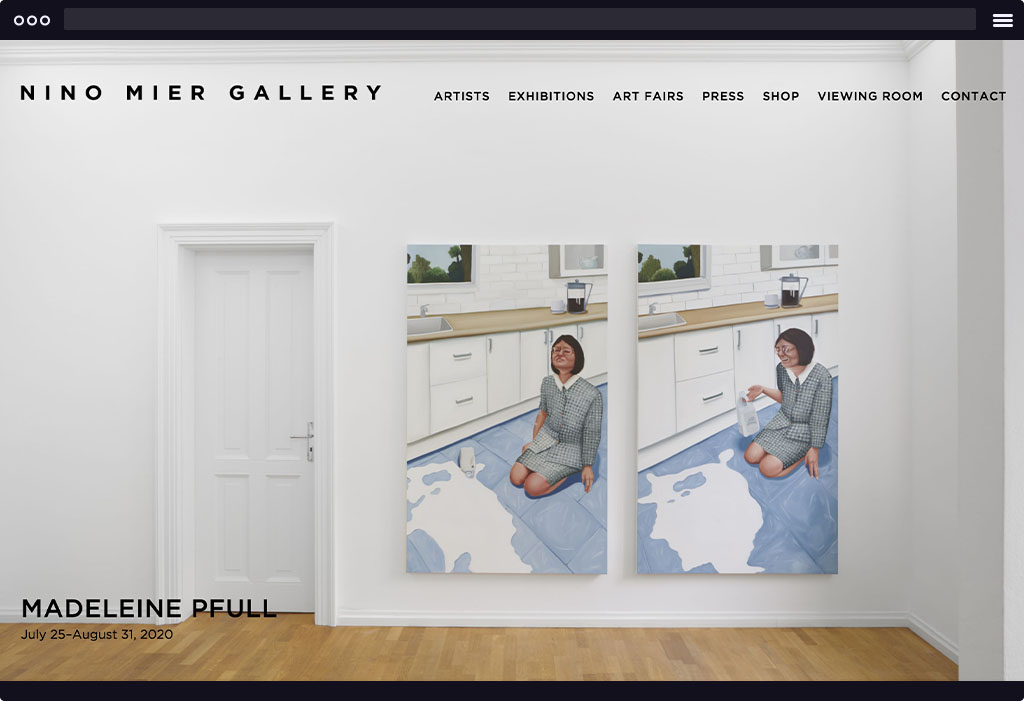 This is a screenshot of Nino Mier's website homepage. The page features a large image with 2 large artworks displayed next to one another. The artworks are of a woman with short brown hair and a plaid suit sitting on the floor next to a puddle of spilled milk making various faces.