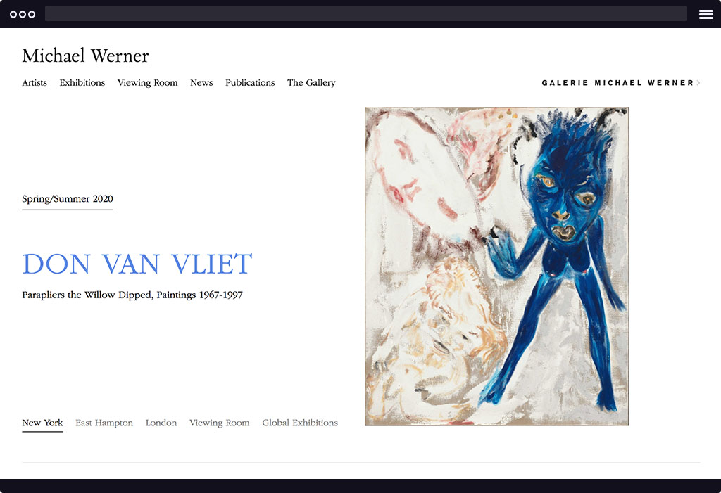 This is a screenshot of Michael Werner's website homepage. The page features a large image on the right and large serif type on the right. The image is of a painting by Don Van Vliet.