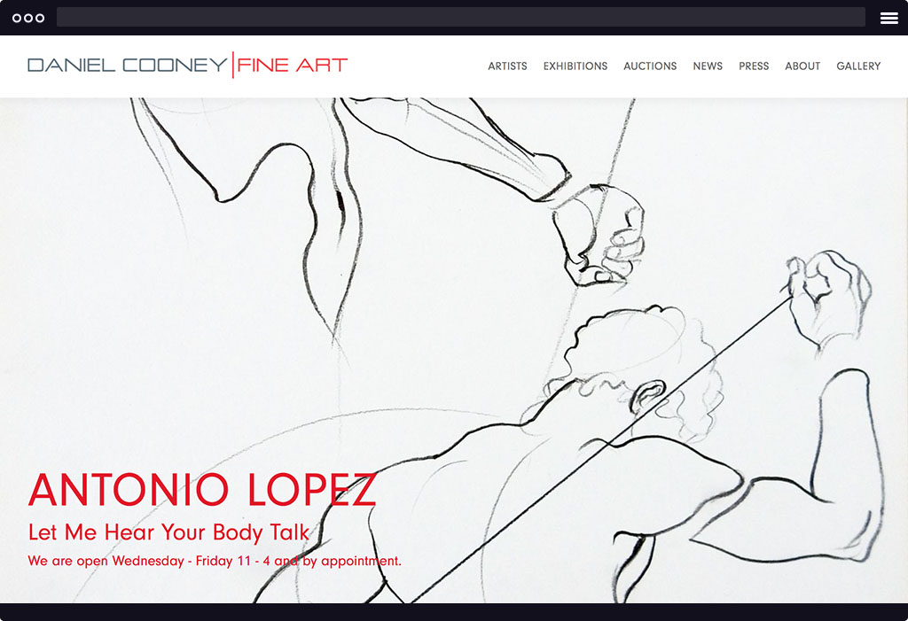 This is a screenshot of Daniel Cooney's website homepage. The page features a large image with black lines forming hands and the human body. The image is representative of their current exhibition in large bold red type.