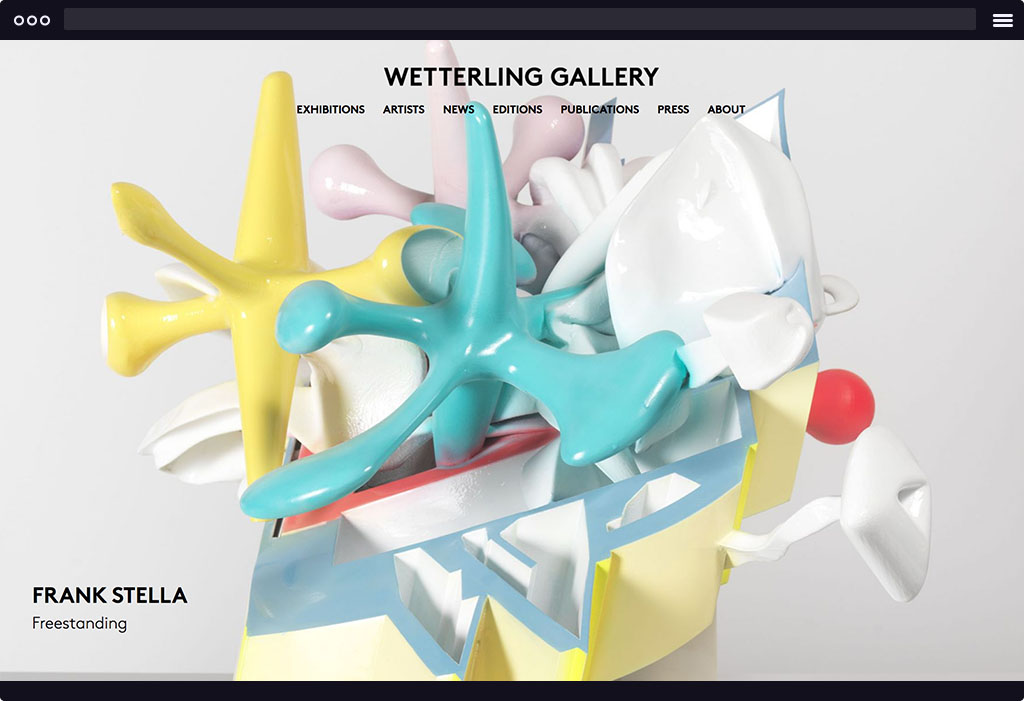 This is a screenshot of Wetterling Gallery's website homepage. The page features a large image with 3D sculptures in pastel colors of white, blue, yellow, pink, and a vibrant red. This image is representative of their upcoming exhibition.