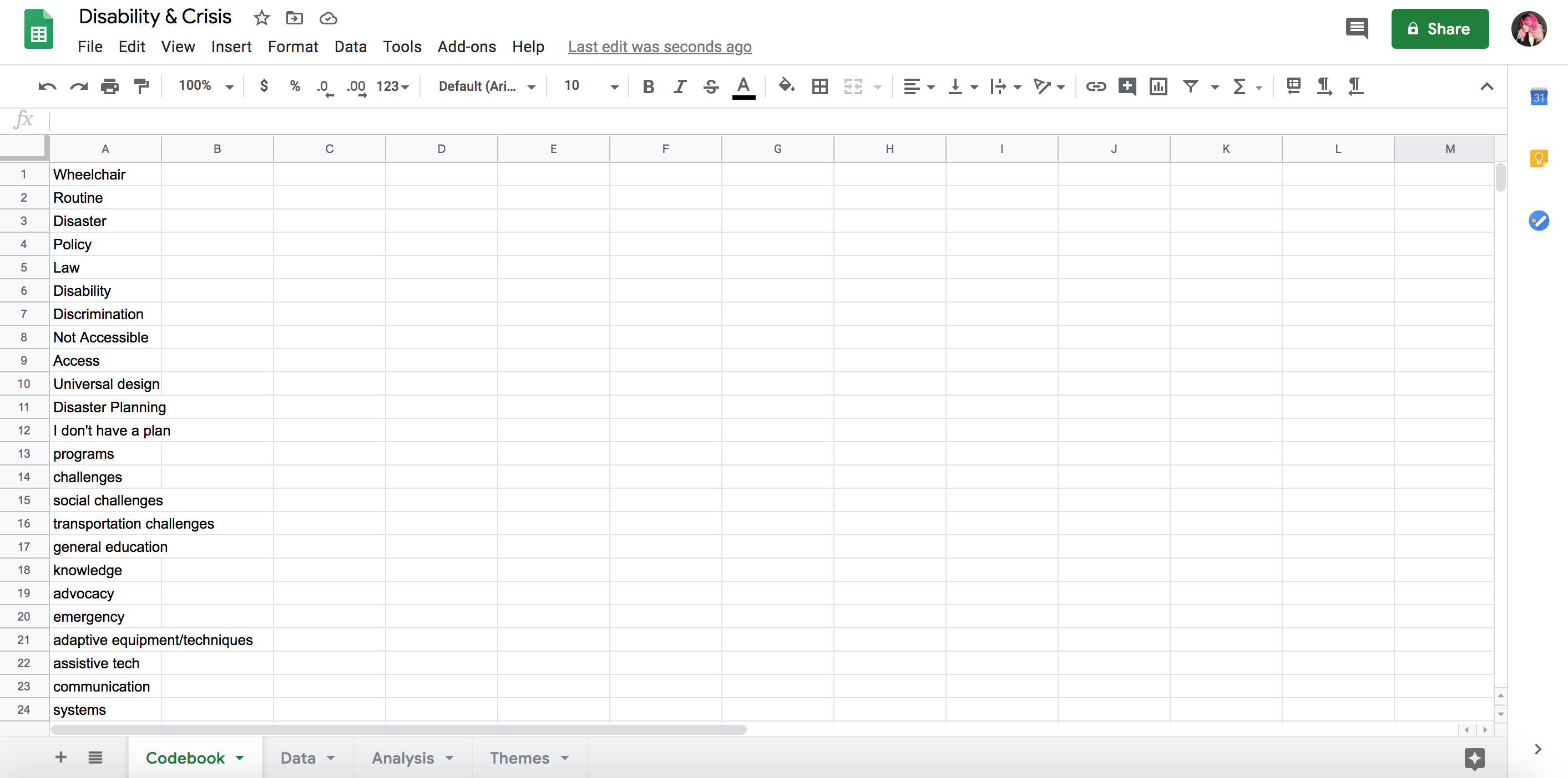 Google Excel sheet of terms related to disability