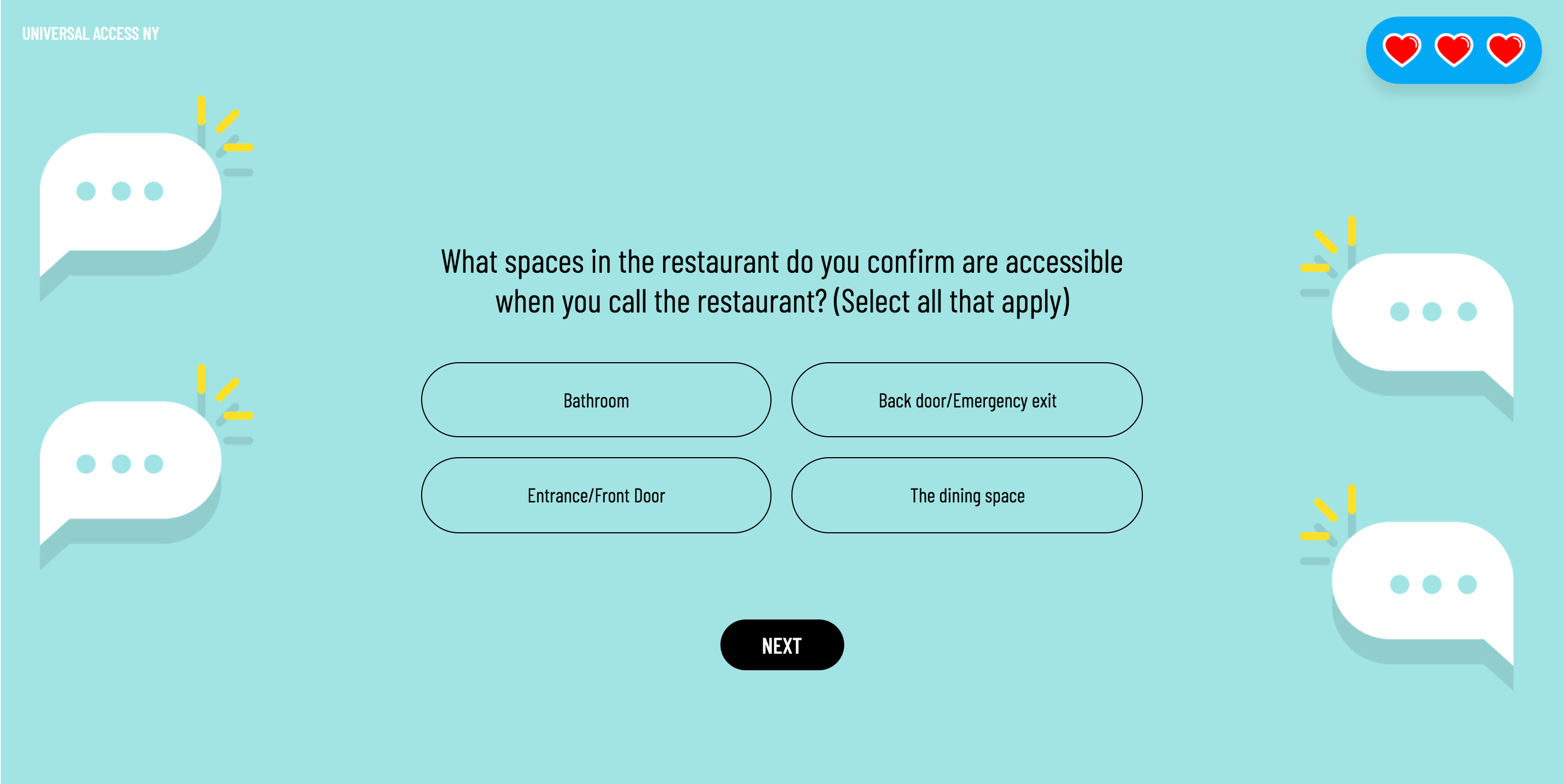 A question of the narrative game. The background is a illustrated graphic with speech bubbles on each side of the question.