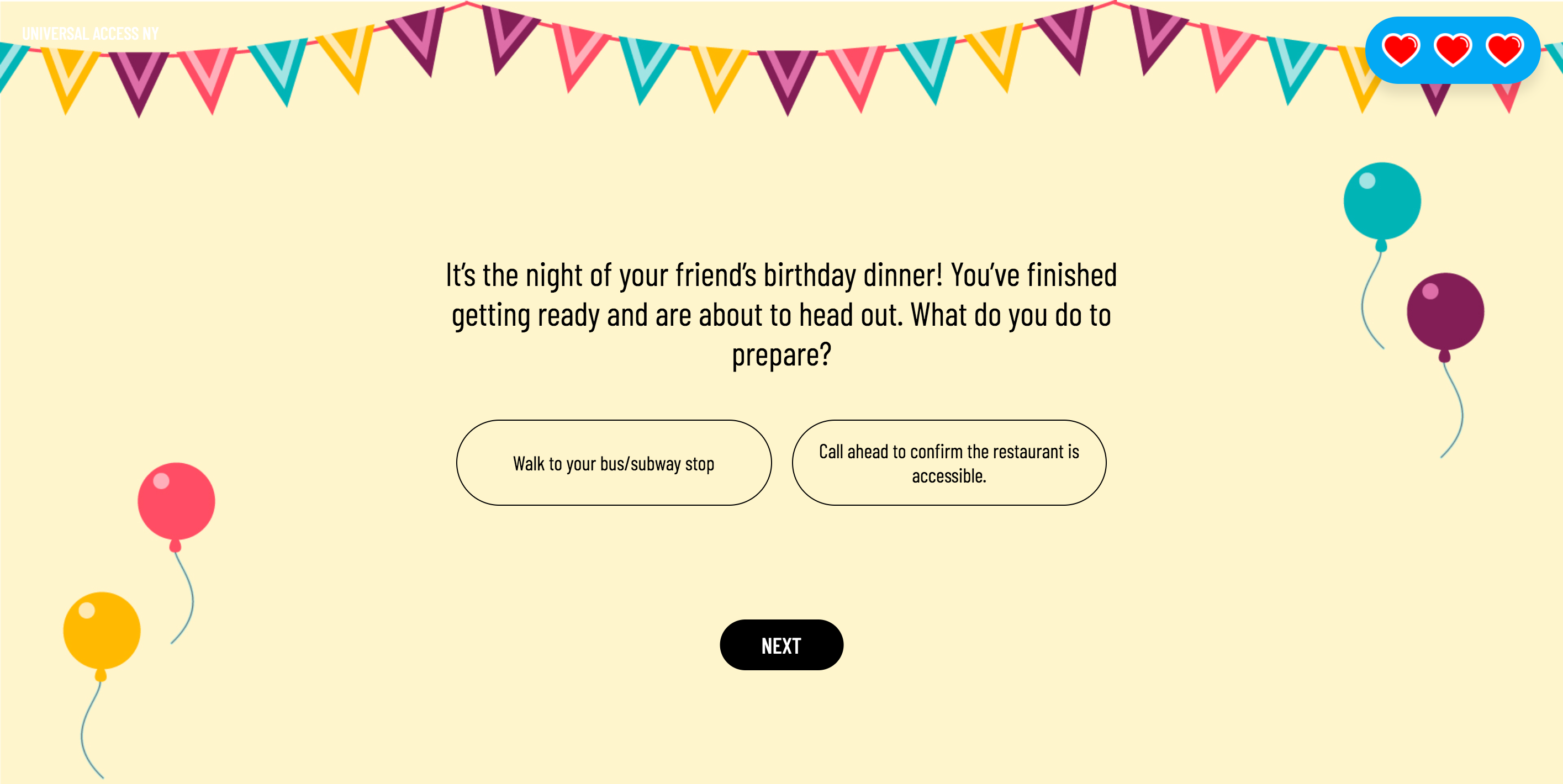 A question of the narrative game. The background yellow with multicolored triangle banners and balloons.