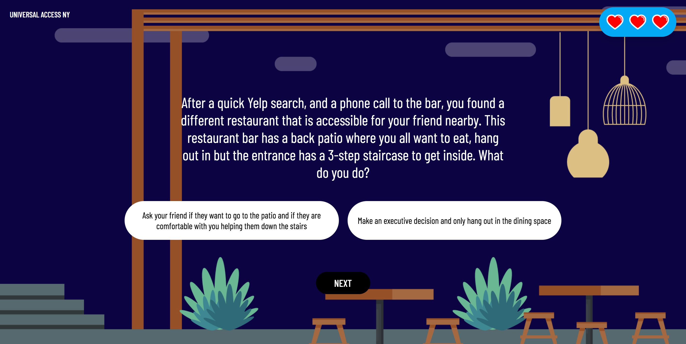 A question of the narrative game. The background is a illustrated graphic to mimic an outdoor patio with tables and plants.