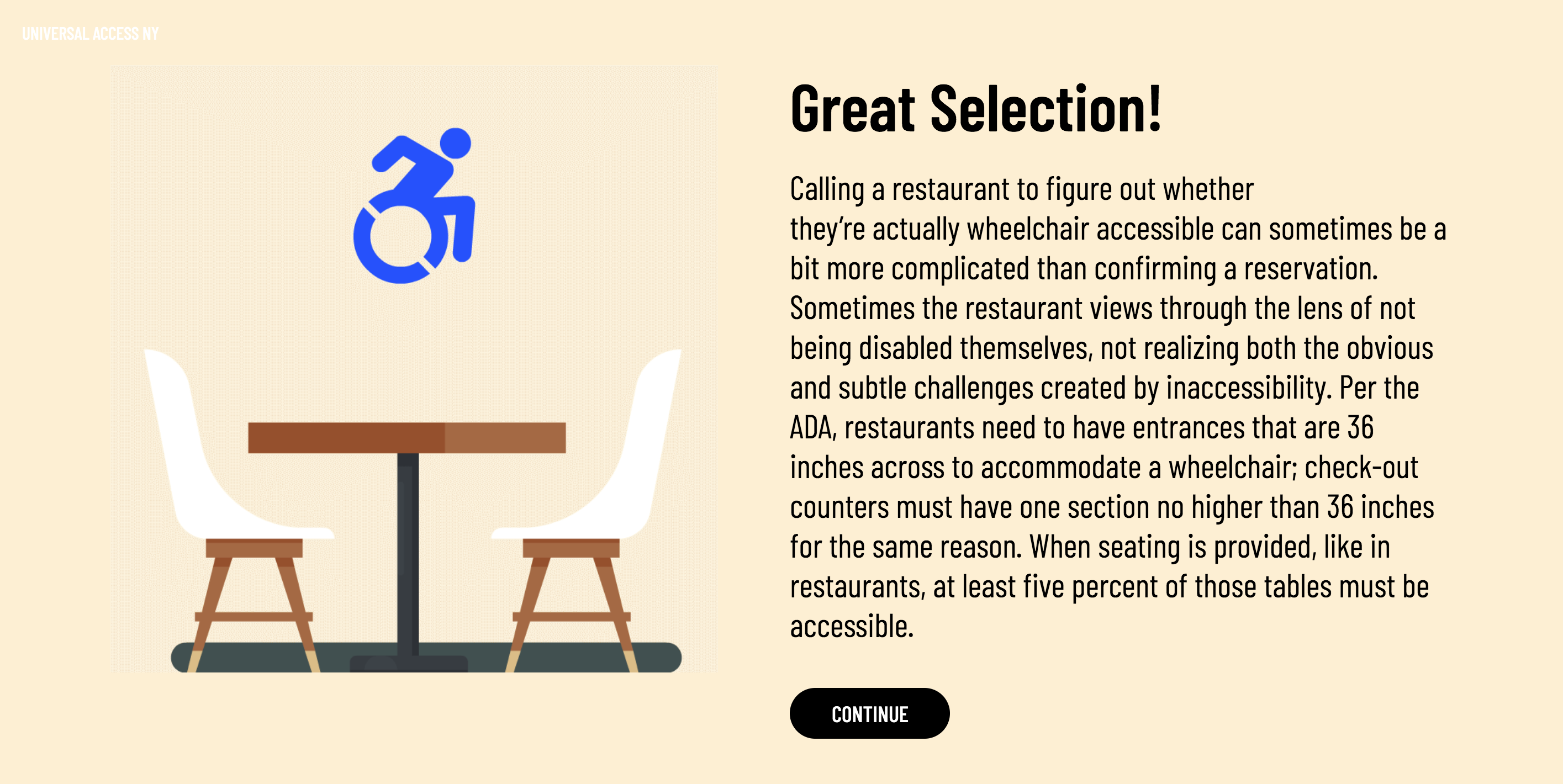 Transition screen that includes reasons why you answered the question correctly with an animated graphic of a table and the accessible icon.