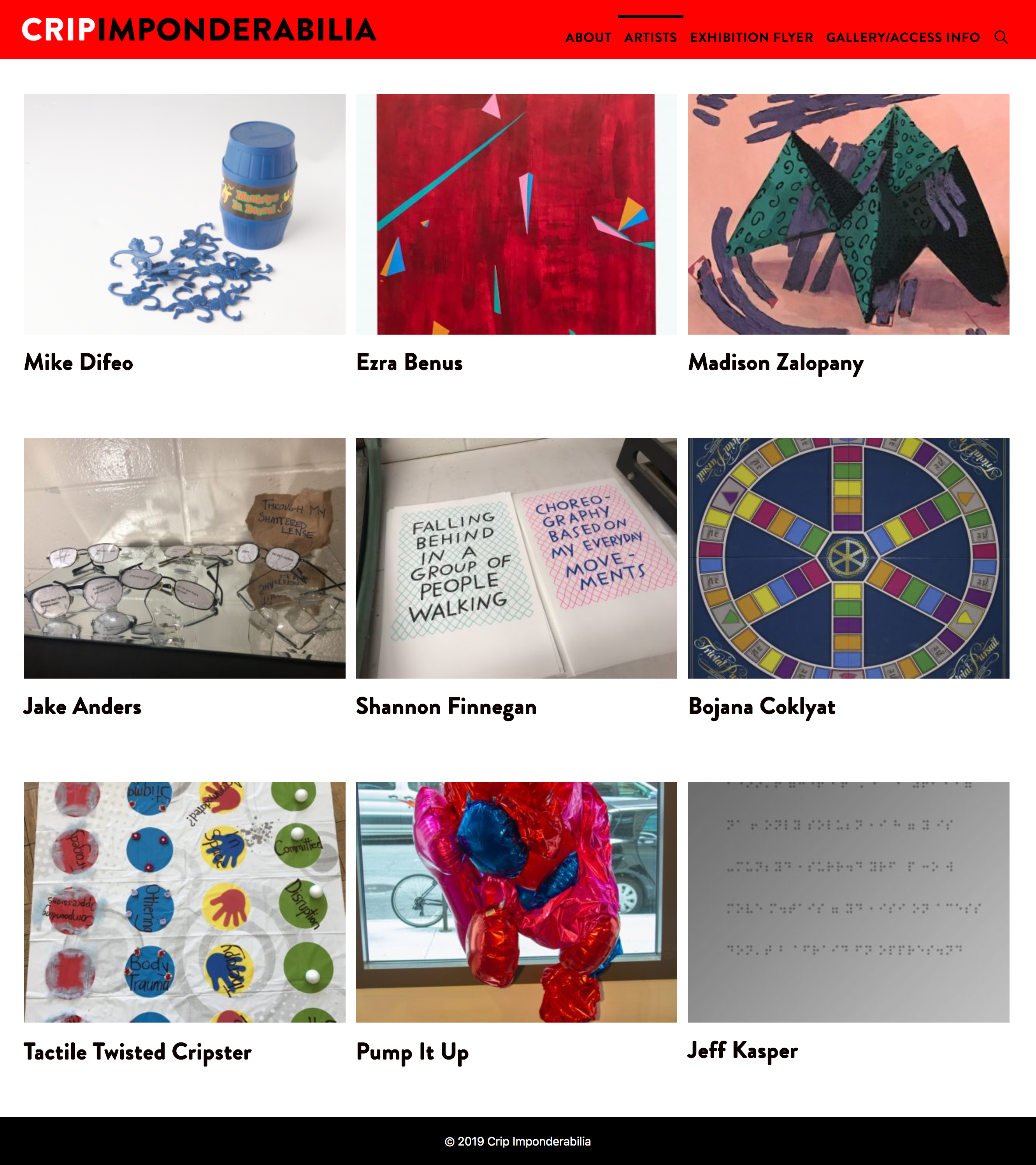 Crip Imponderabilia artist page with a grid of artists and photos of their artwork.