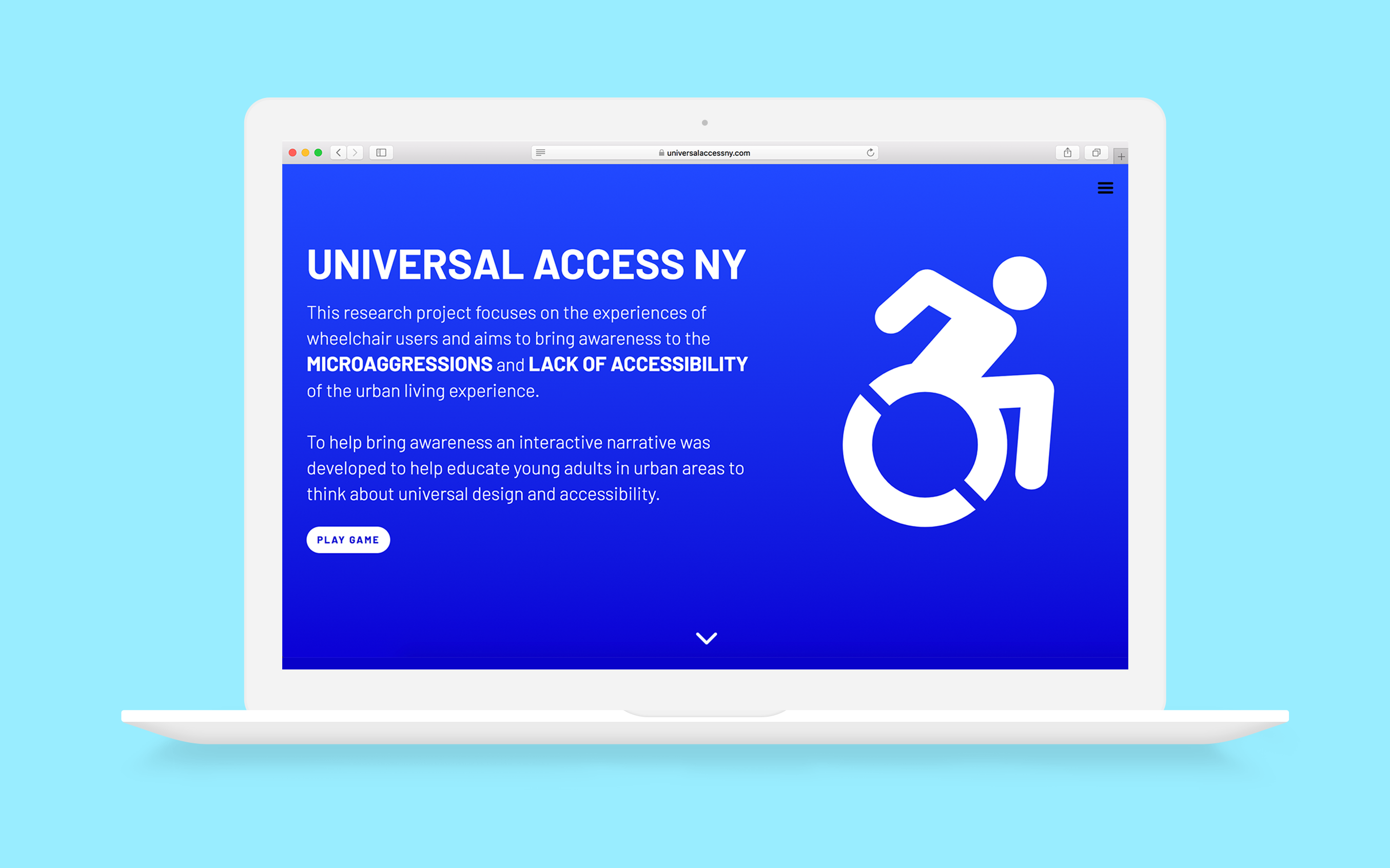 Floating laptop on a blue background displaying the homepage of the Universal Access NY website.