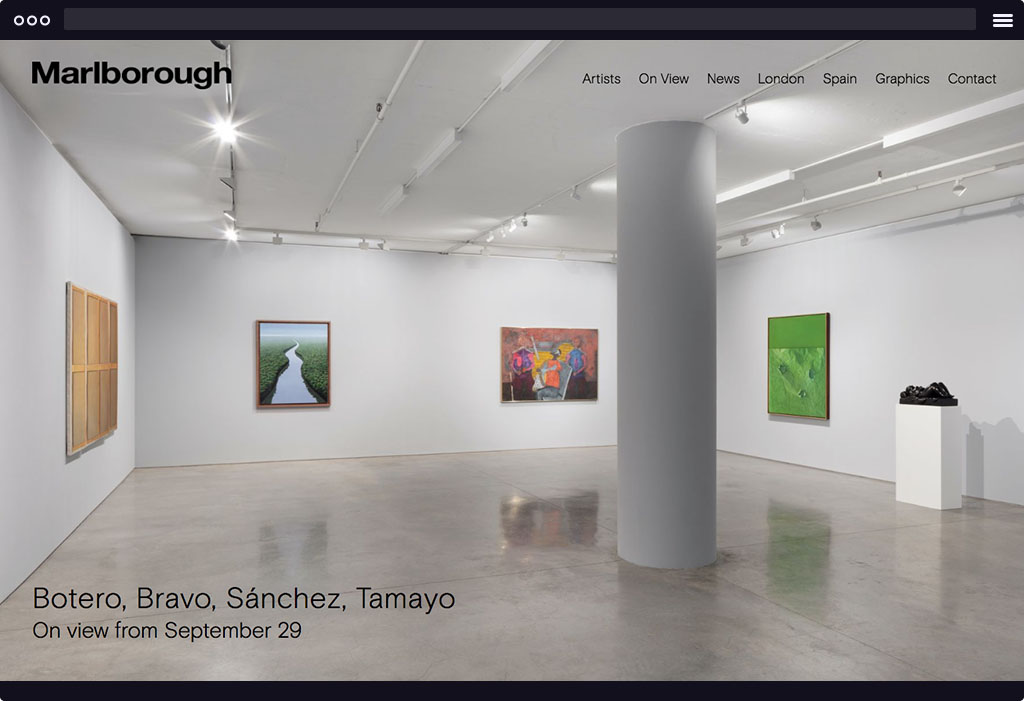 This is a screenshot of Marlborough Gallery's website homepage. The page features a large installation image with paintings on the wall.