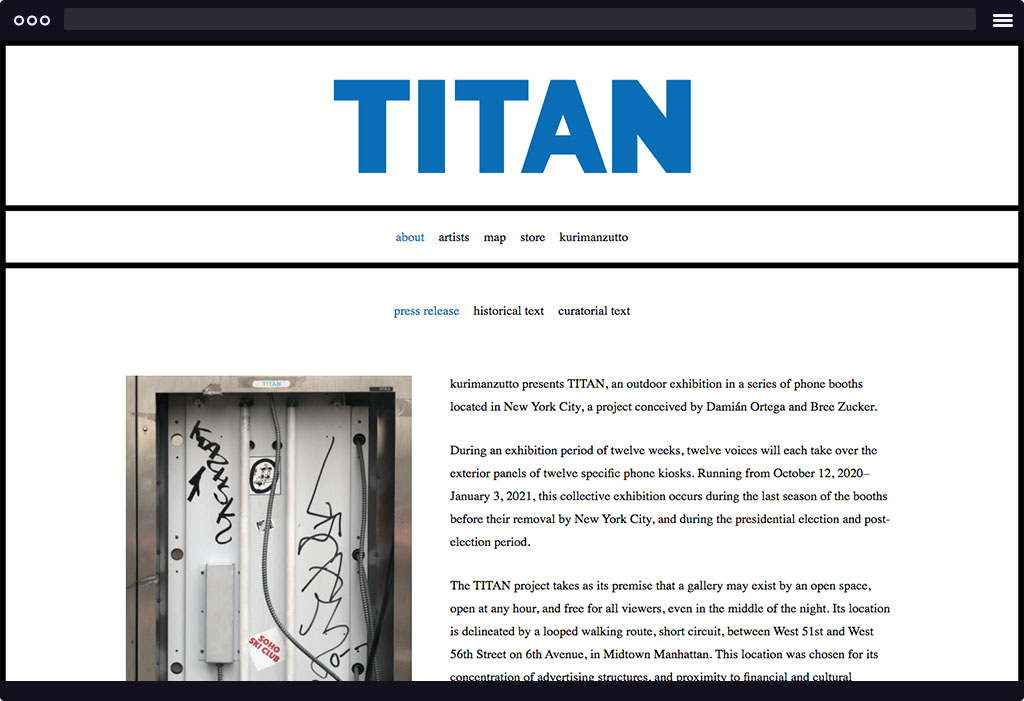 This is a screenshot of Kurimanzutto's Titan website homepage. The page features a la large blue logo stating Titan and a block of text with an image.