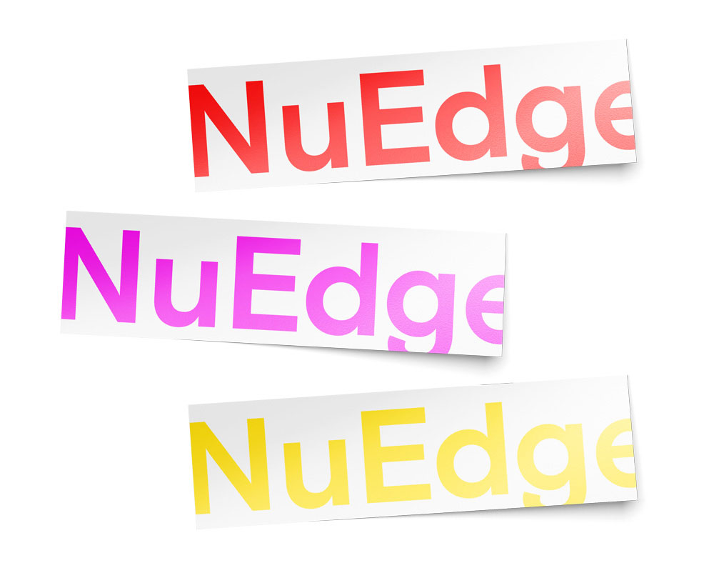 """More stickers that read """"NuEdge"""" the gallery would sell at  events"""