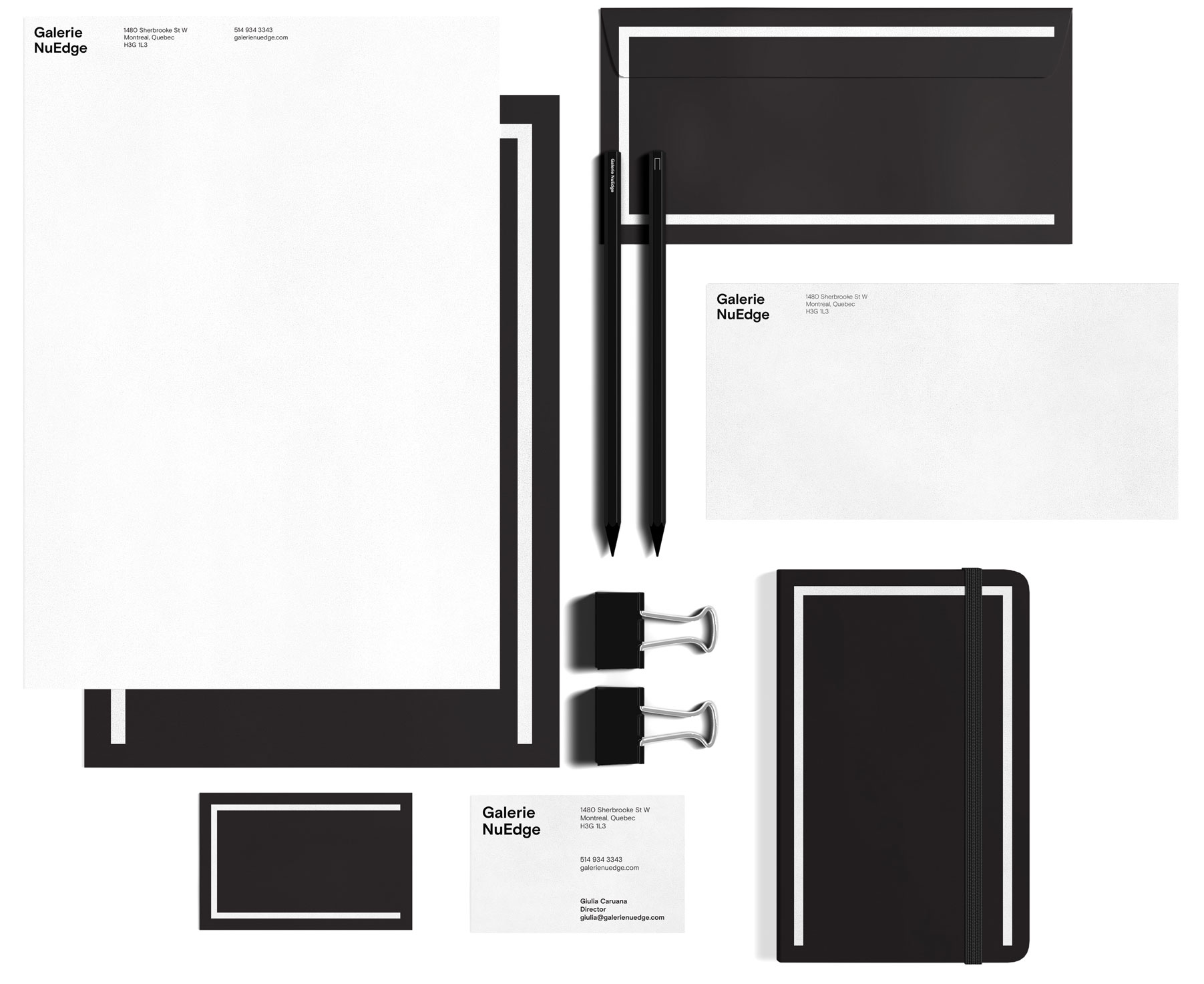 Black and white stationery set for Galerie NuEdge rebranding