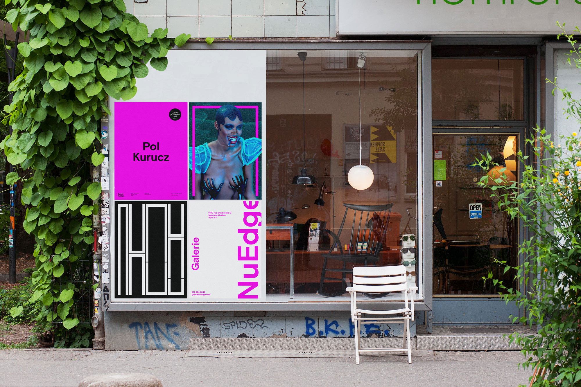 Third set of posters for Galerie NuEdge rebranding (fuchsia)