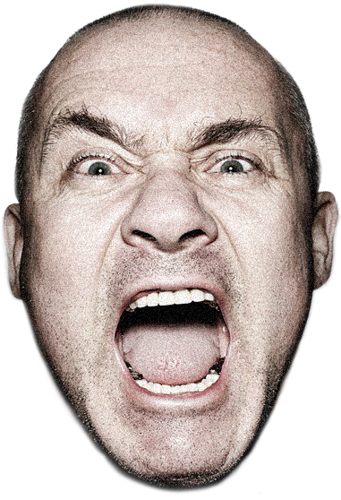 Damien Hirst's face with mouth open
