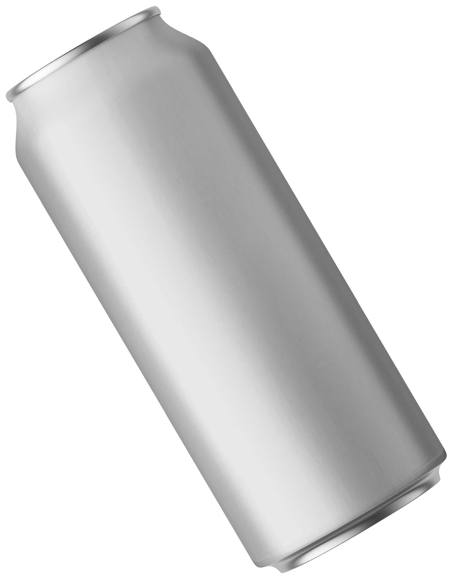 A silver can with no label suspended at an angle