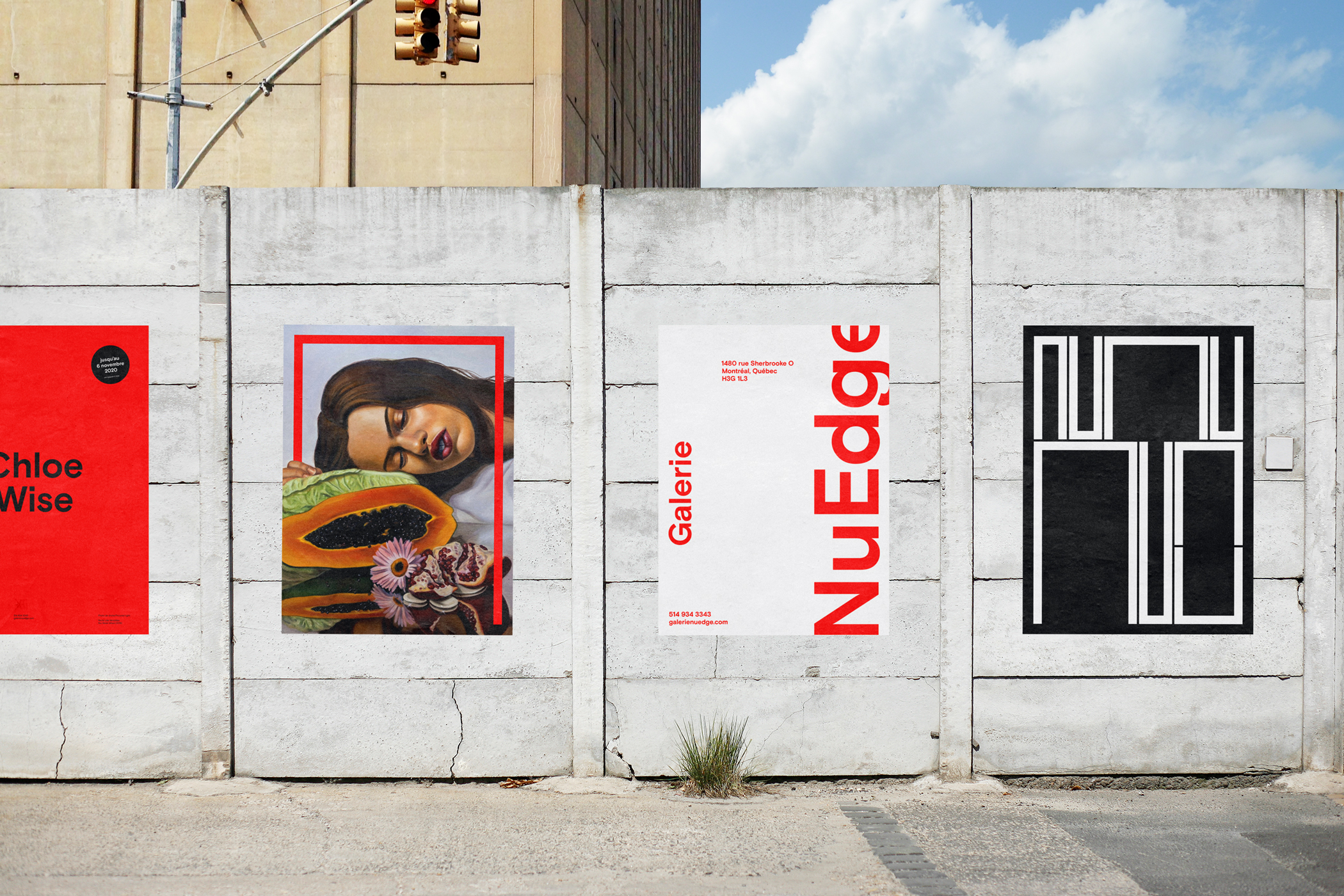 Wall outdoors showcasing first series of posters (red) for Galerie NuEdge rebranding
