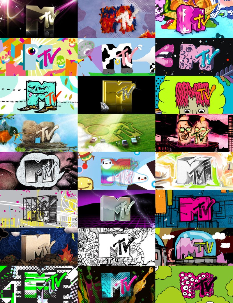 MTv: Examples of logo variations by various artists