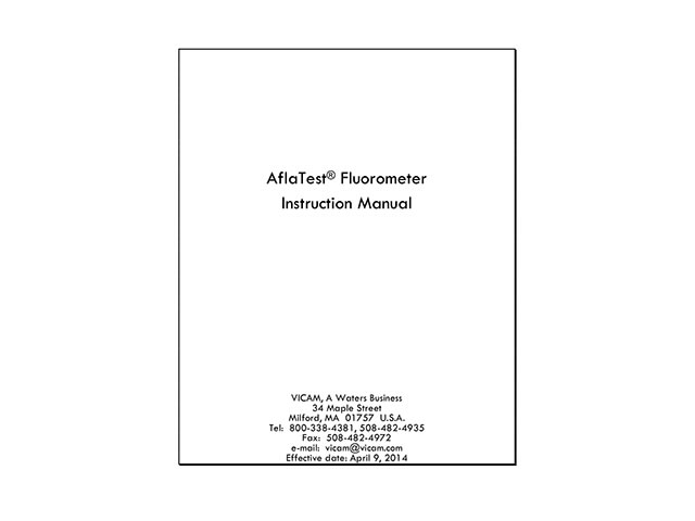 AflaTest Fluorometer Instruction Manual