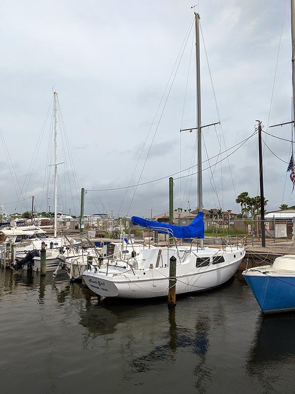 Islander 33 sailboat in the marina.
