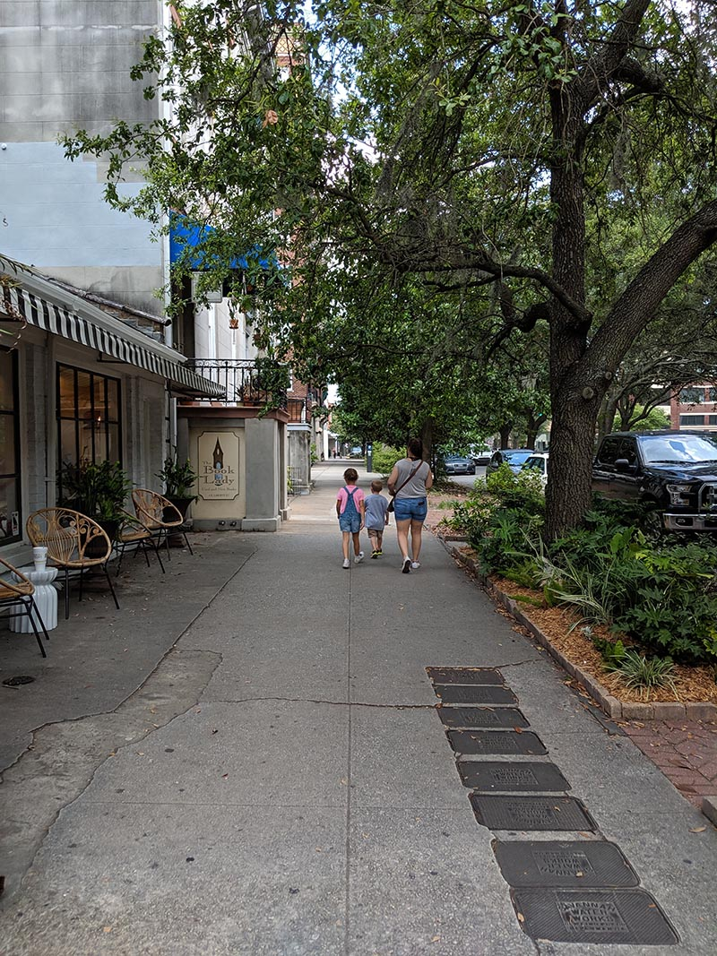Our family walking through Savannah, GA. in the summer of 2019.
