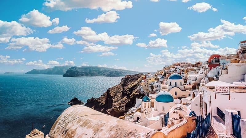 Santorini, Greece during the day.