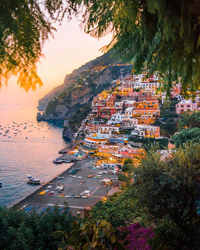 Positano at sunset where digital nomads can work.