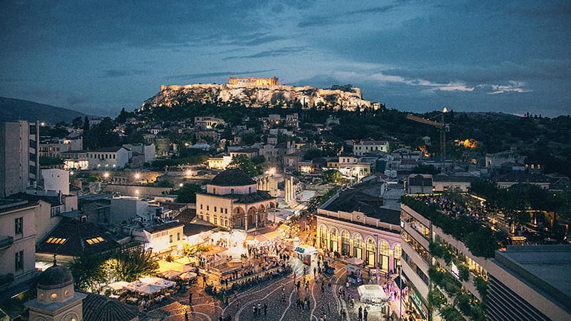 The Parthenon on a hilltop in Athens, Greece.
