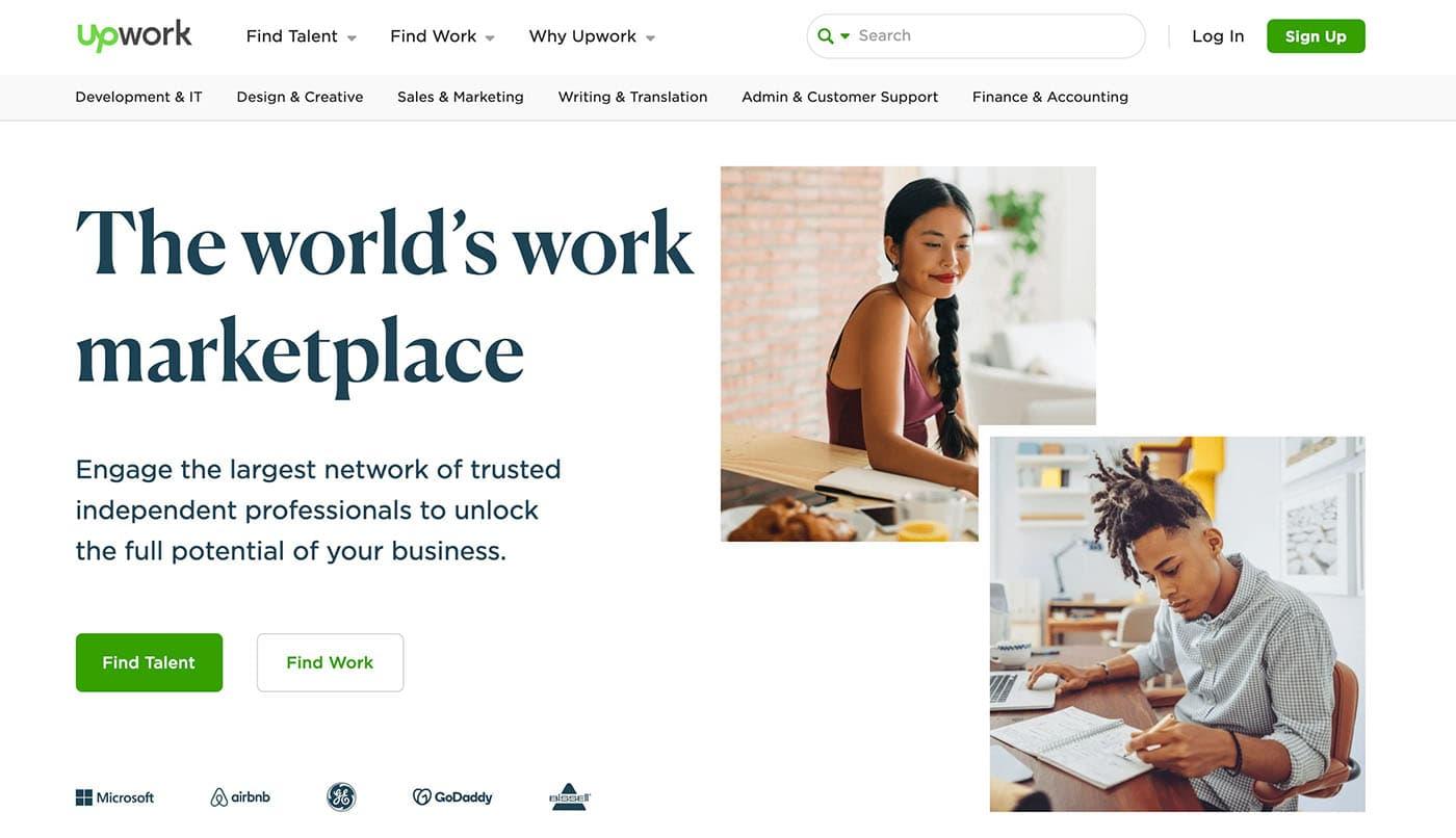 The Upwork homepage.