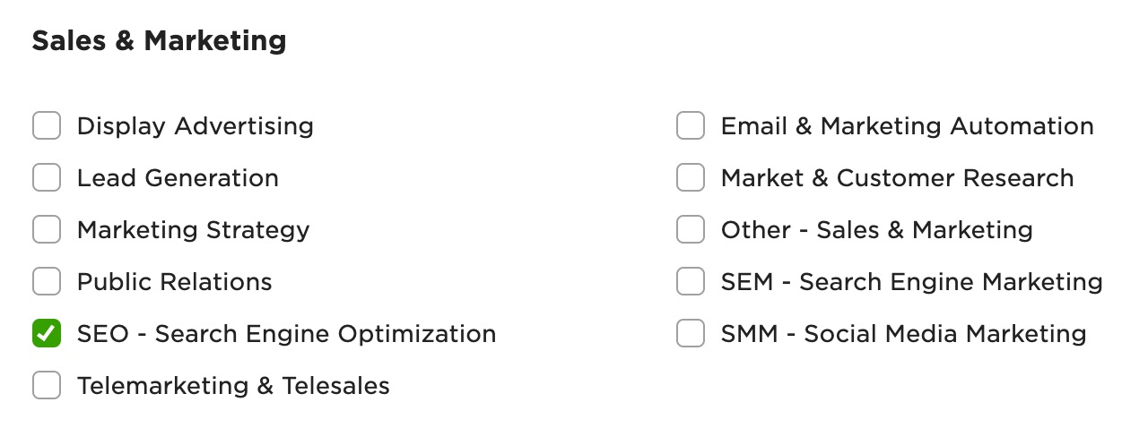 A list of skills under sales and marketing on Upwork.