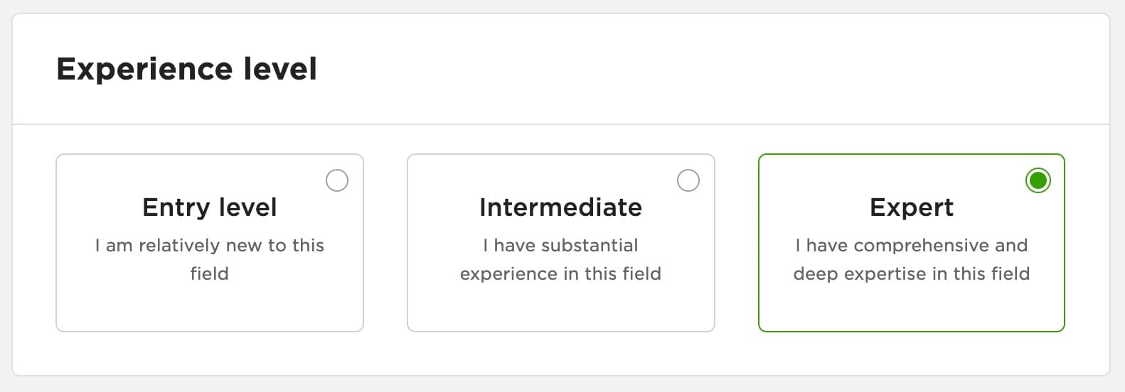 Experience level options when signing up for Upwork.