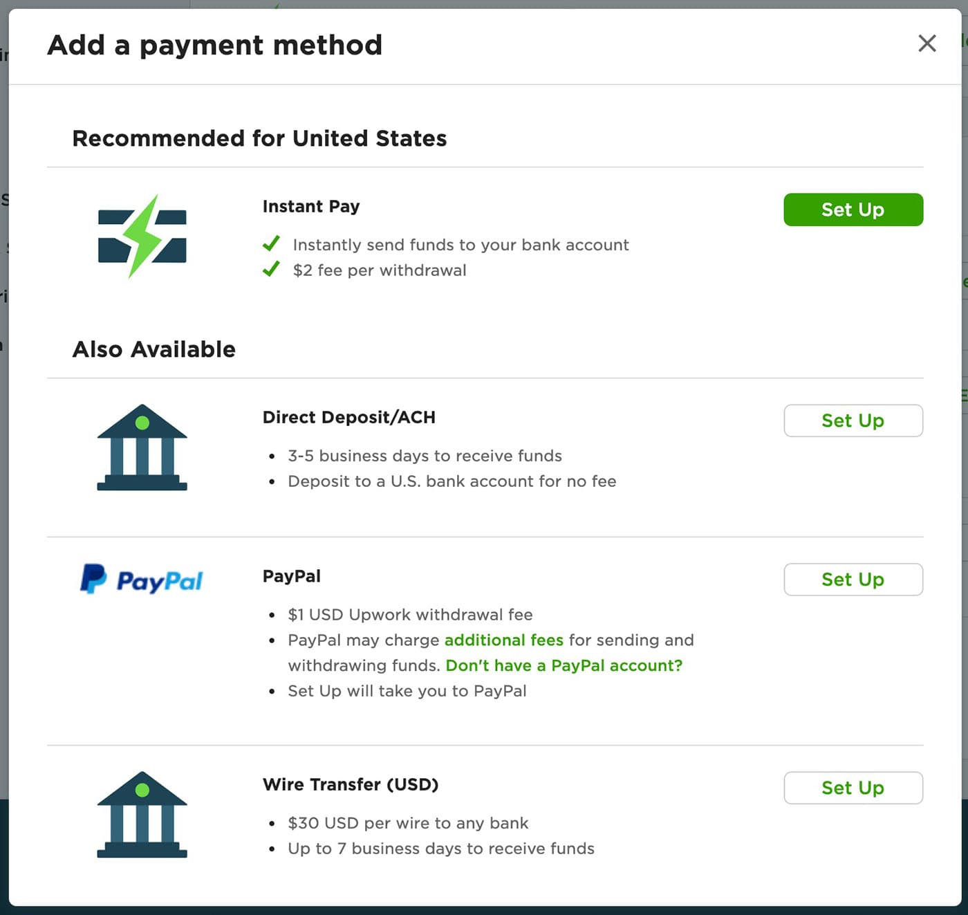 Table showing the methods of payment Upwork currently offers to pay freelancers.