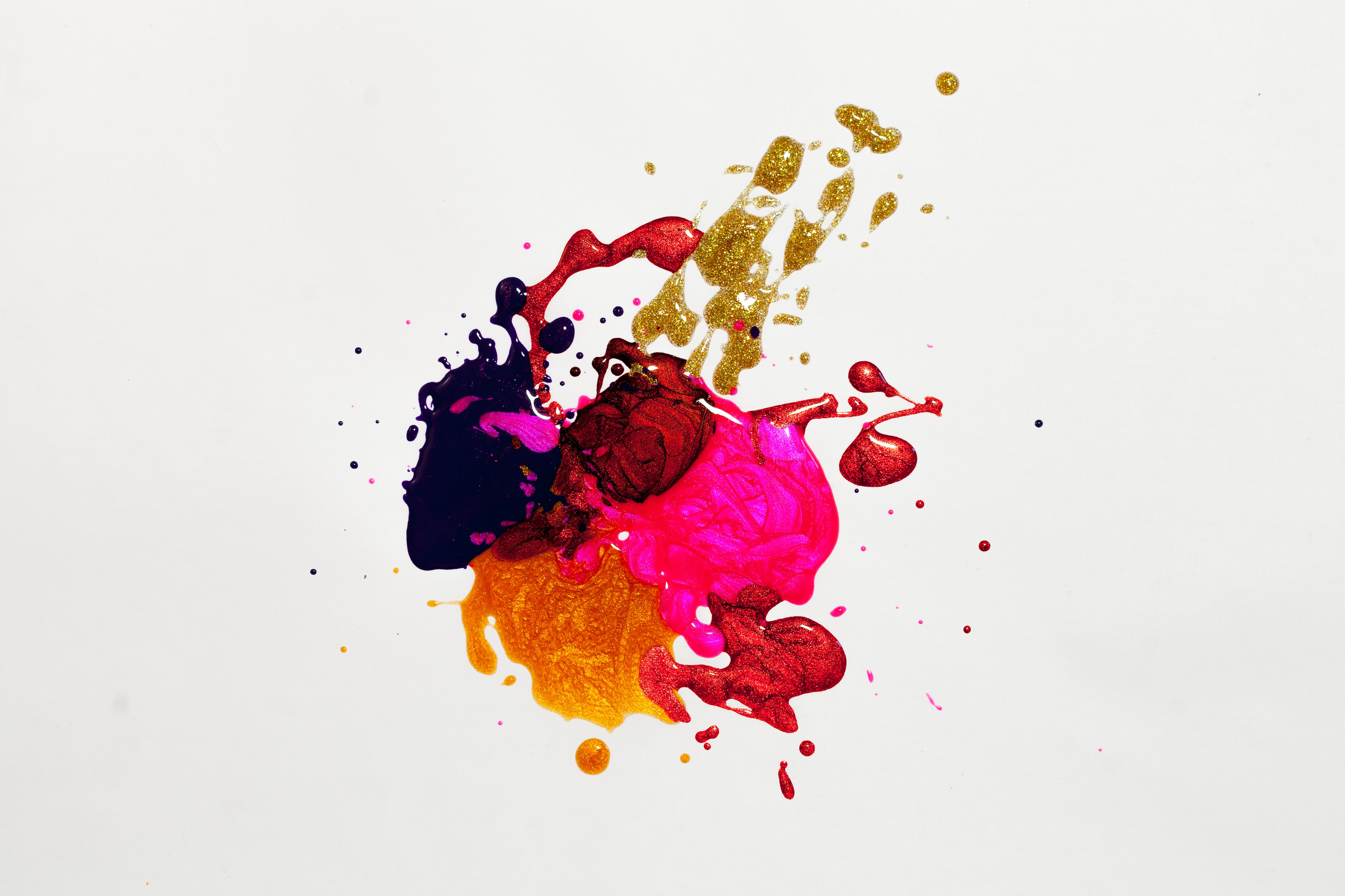 Colourful and vibrant paint splashes