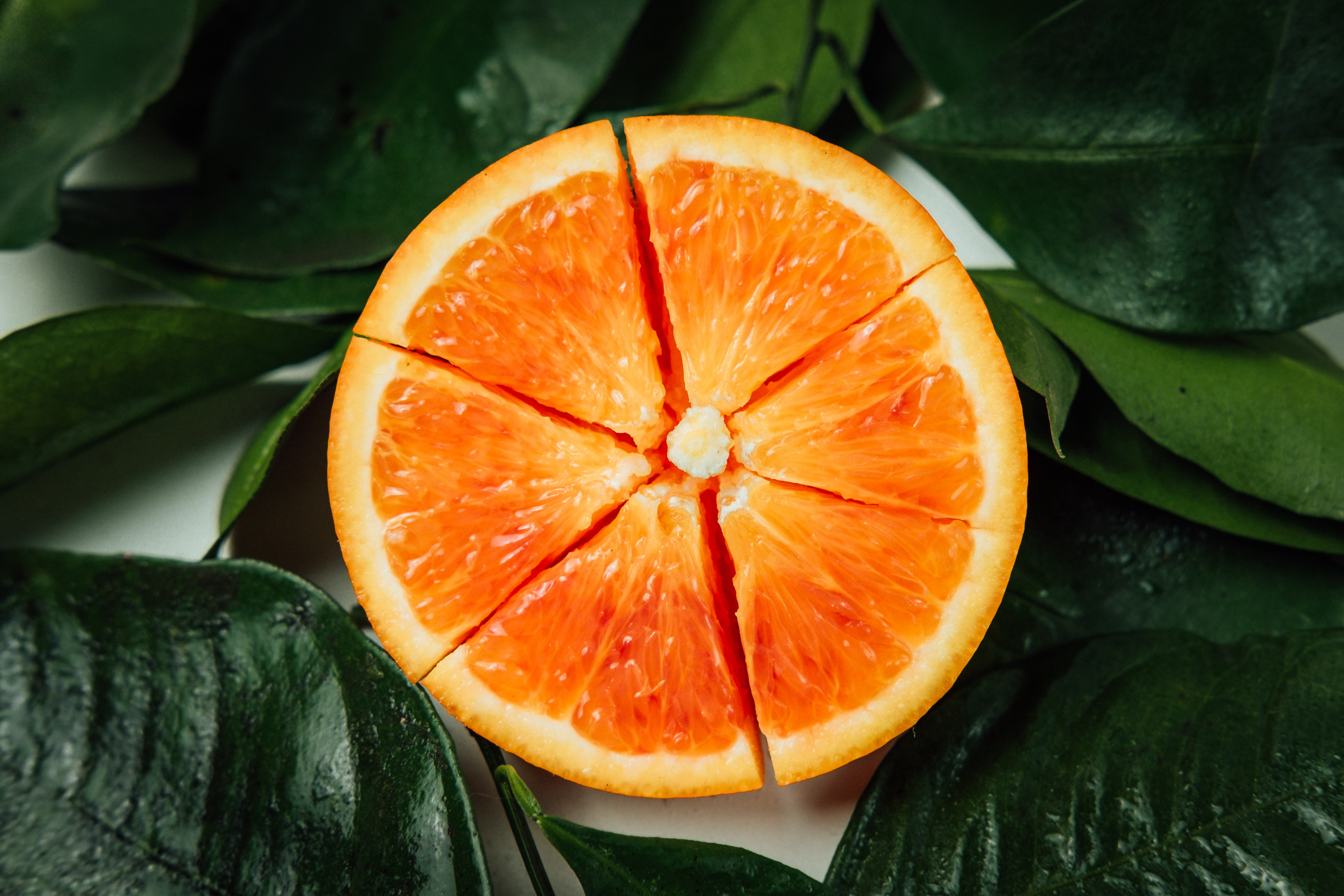 Half an orange split into segments like a pie chart