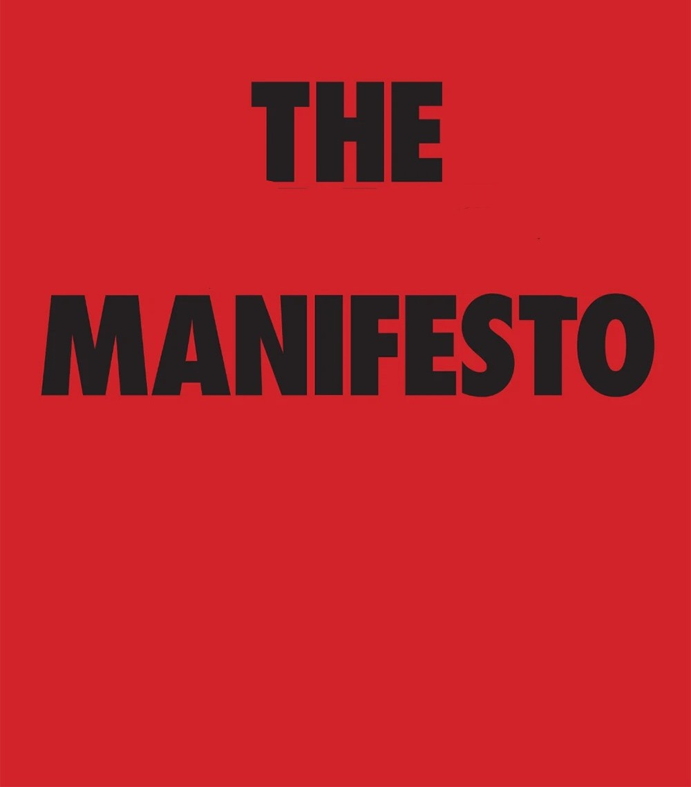 The Manifesto in black lettering on a red background