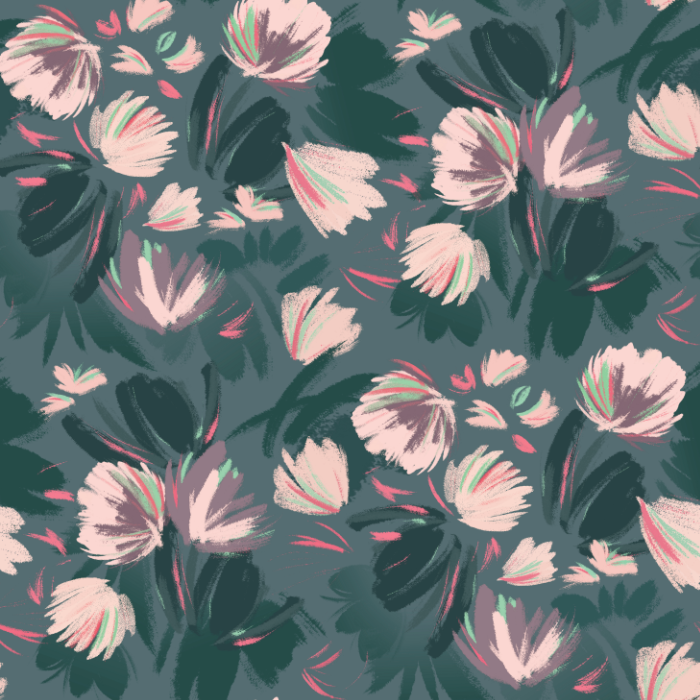 Pink and Teal Floral