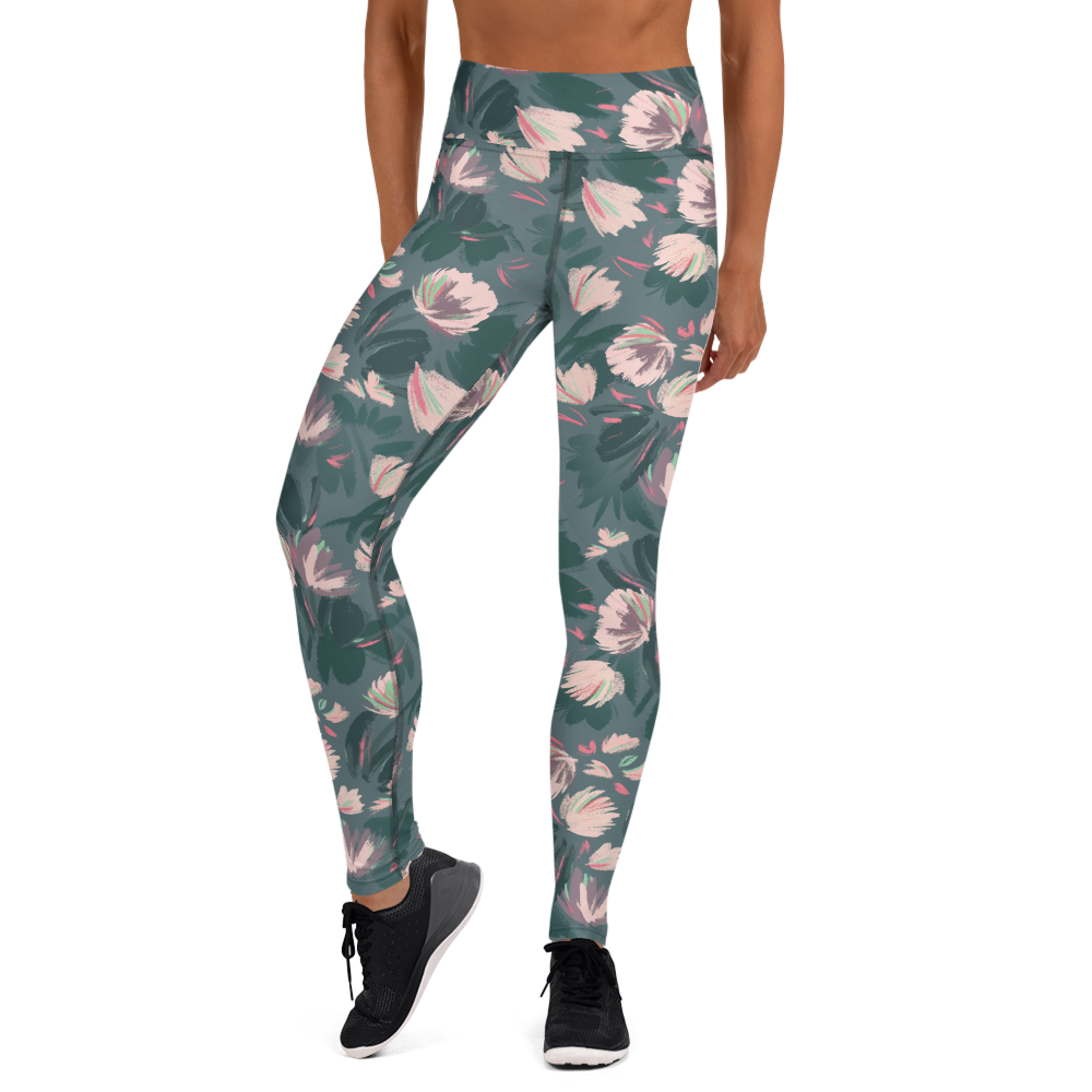 Catherine Worsley Pink and Teal Floral Women's Leggings