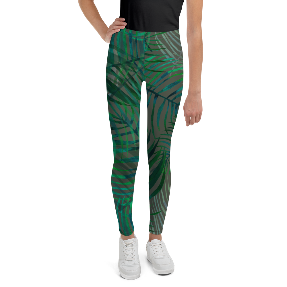 Olivia Tomlinson Skinny Leaf Green Youth Leggings