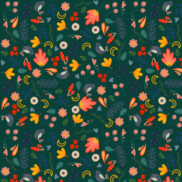 Folk Print Dark Green