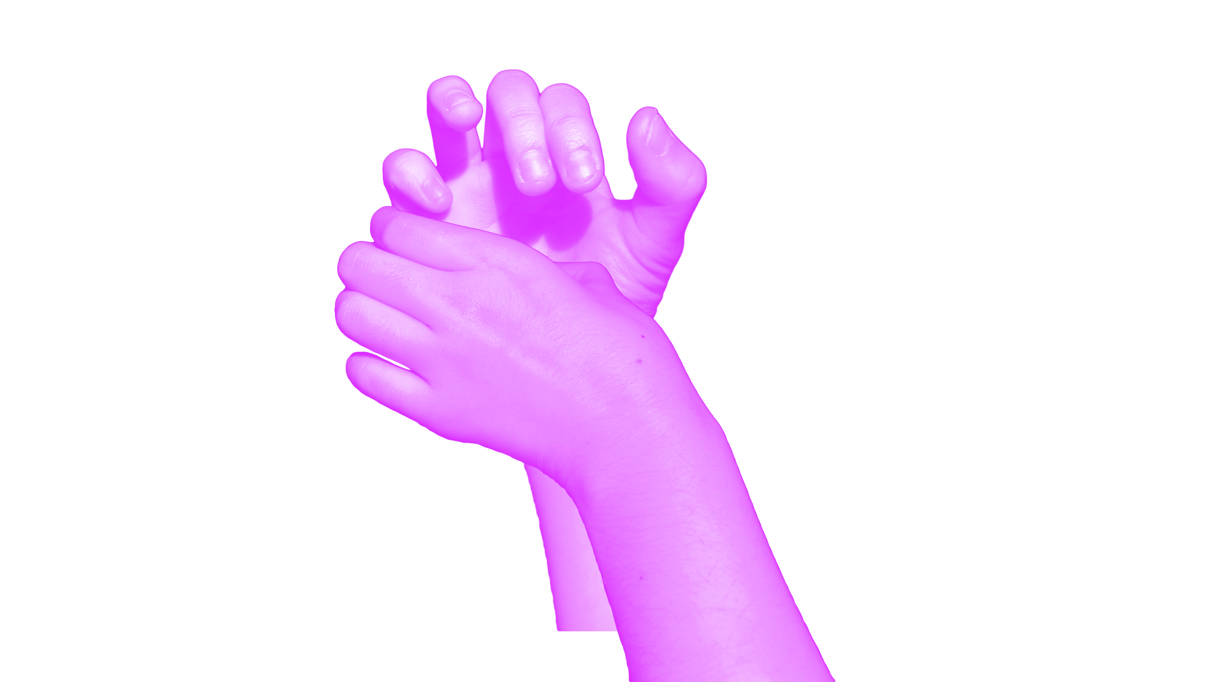 purple hands playing trumpet