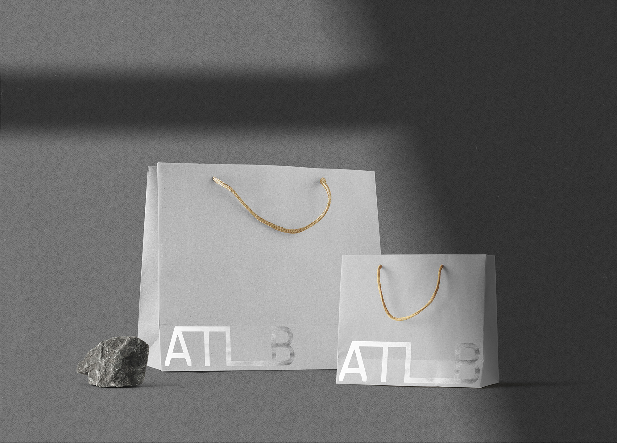 grey shopping bags branding ATLB