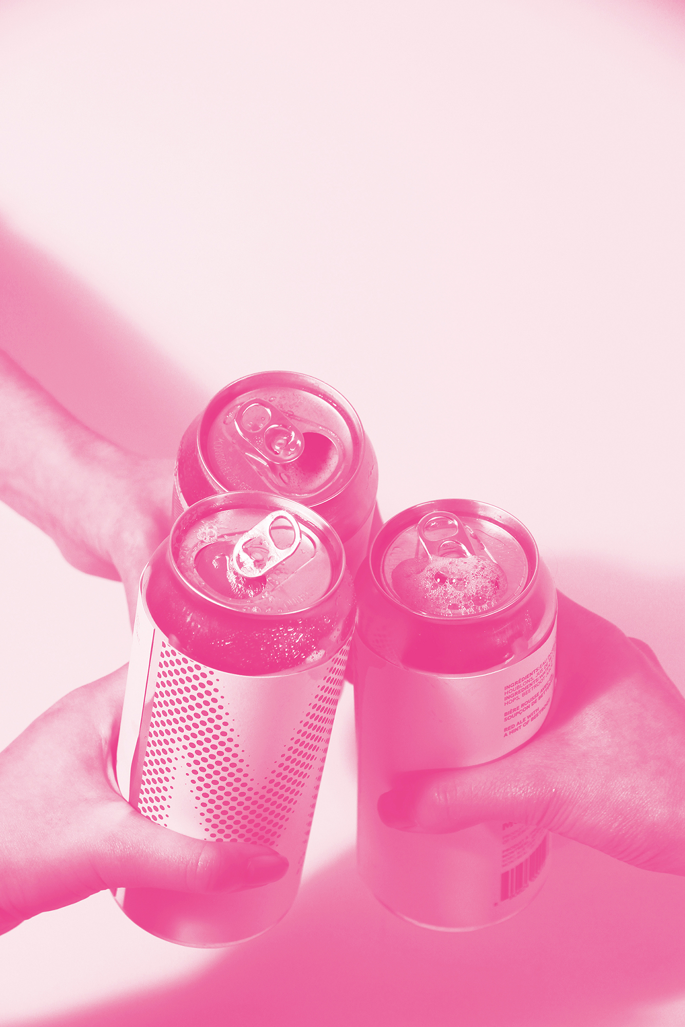 Cheers with 3 beers in magenta duotone