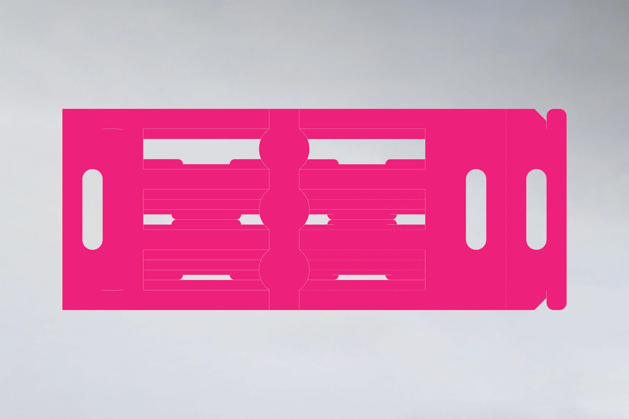 flat packaging box dieline in magenta