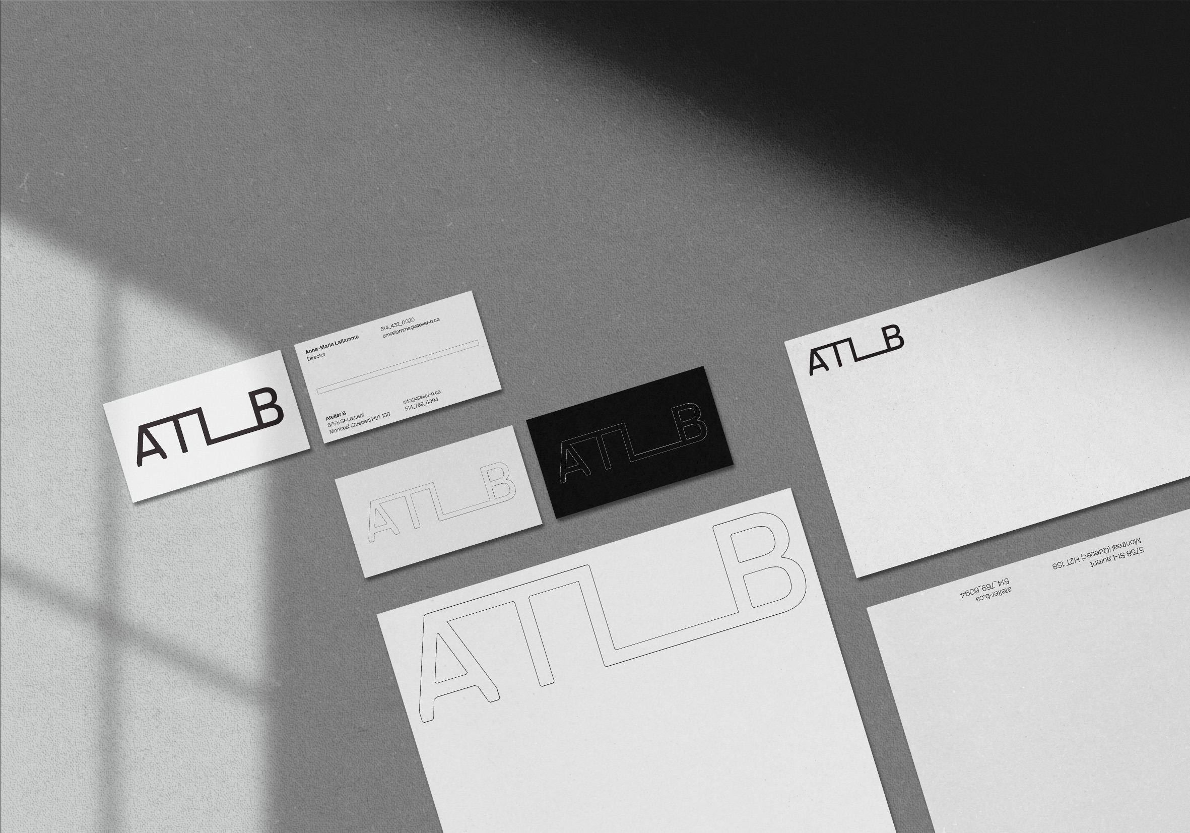 Black and grey branding design of stationery